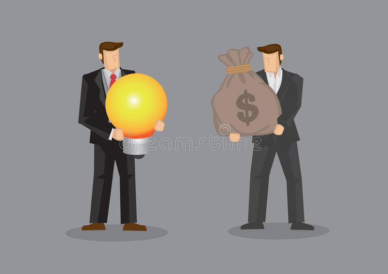 Hommes d'affaires utilisant l'argent à échanger pour un vecteur Illustrat d'idée illustration stock
