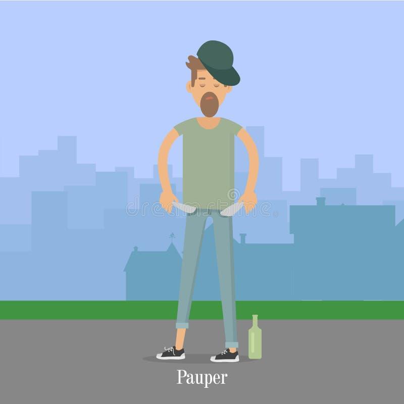 Hommes d'indigent avec les poches vides en parc de ville illustration stock