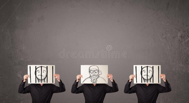 Hommes dans faire des gestes formel avec le carton devant leur tête illustration de vecteur