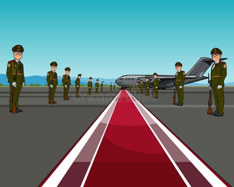 Hommes dans l'uniforme se tenant des bords opposés du tapis rouge au sujet des avions illustration libre de droits