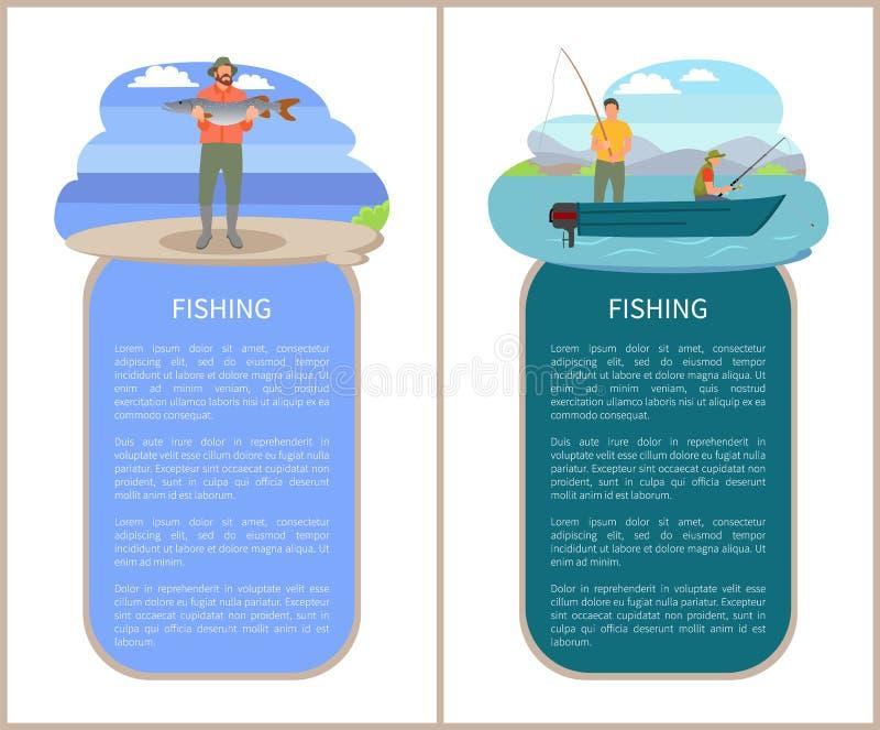 Hommes dans la pêche de canot automobile et Fisher avec le crochet illustration de vecteur