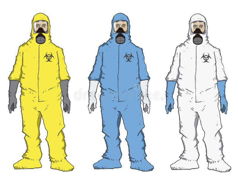 Hommes dans la tenue de protection illustration de vecteur