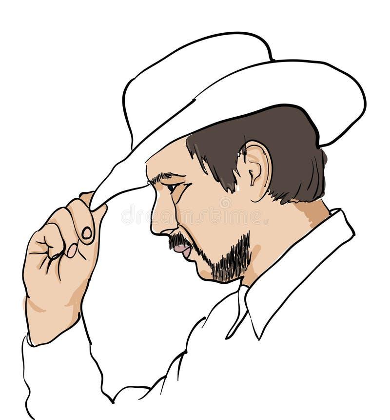 Hommes dans le chapeau noir au-dessus du blanc illustration stock