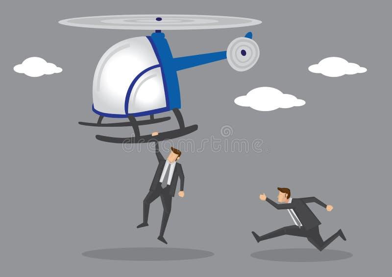 Hommes dans le costume chassant après illustration de vecteur d'hélicoptère illustration de vecteur