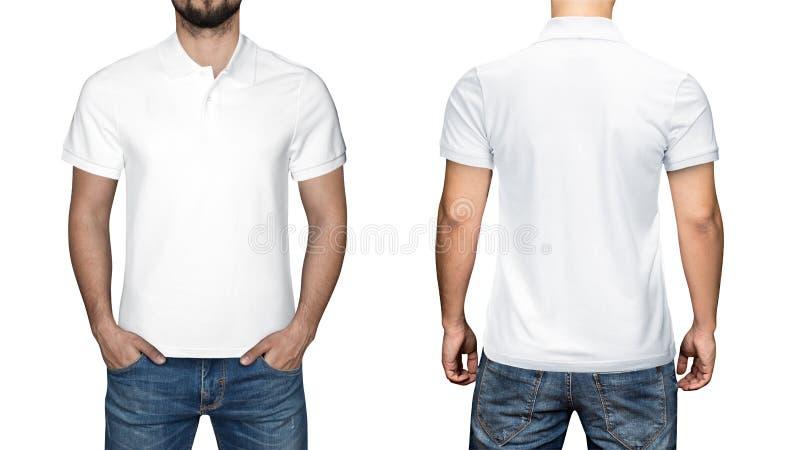 Hommes dans le polo blanc vide, l'avant et la vue arrière, fond blanc Concevez le polo, le calibre et la maquette pour la copie photo stock