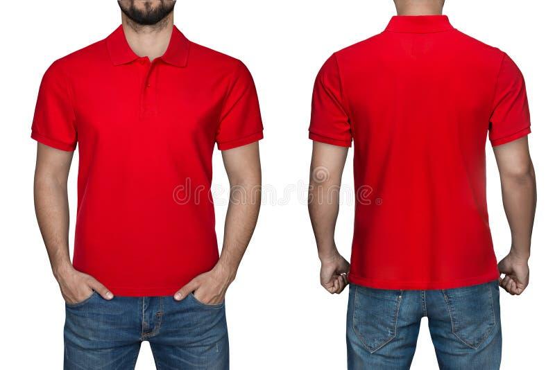 Hommes dans le polo rouge vide, l'avant et la vue arrière, fond blanc Concevez le polo, le calibre et la maquette pour la copie photos stock