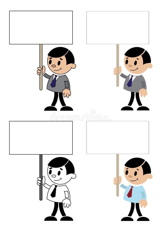 Hommes De Bureau Avec Le Signe Blanc Images stock