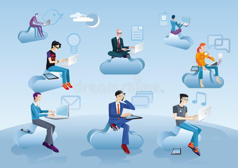 Hommes de calcul de nuage s'asseyant en nuages avec des graphismes illustration stock