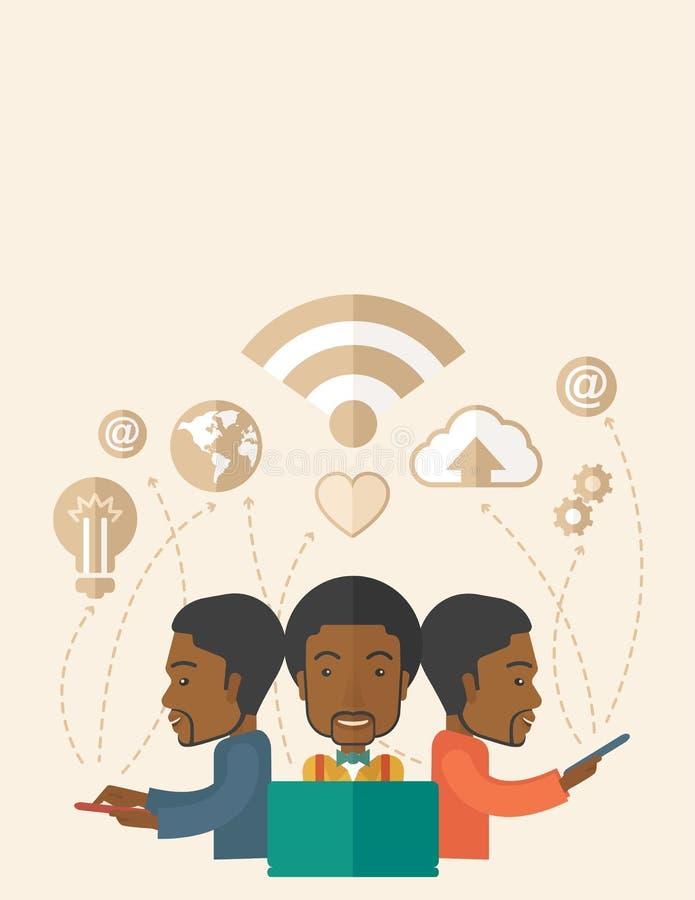 Hommes de couleur employant la technologie moderne illustration libre de droits