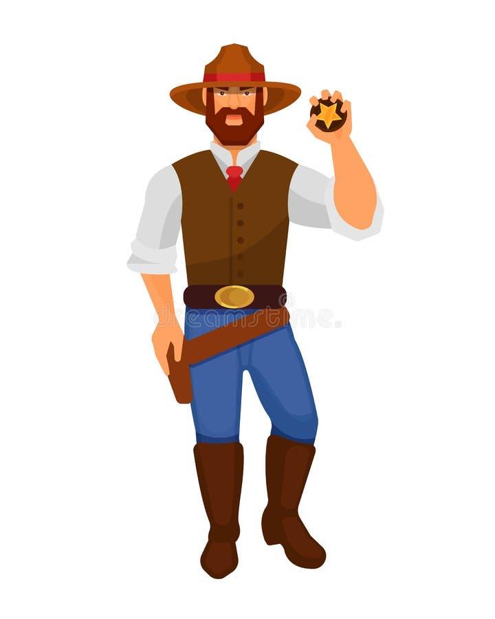 Hommes de cowboy de caractère d'occidental, avec les armes à feu et le shérif de signe illustration de vecteur