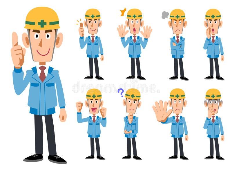 Hommes de _d'industrie du bâtiment dans des vêtements de fonctionnement bleus illustration libre de droits