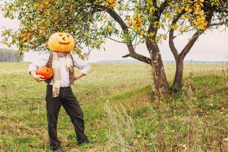 Hommes de Halloween avec la tête de potiron photos stock
