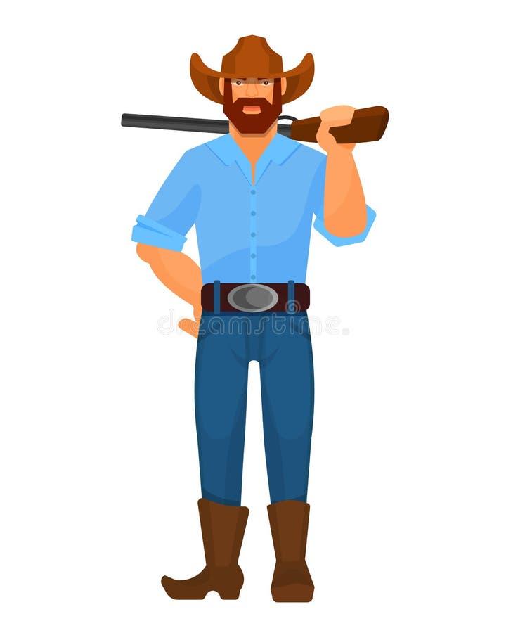 Hommes de shérif de cowboy de caractère d'occidental, avec des armes à feu, fusil de fusil de chasse illustration stock