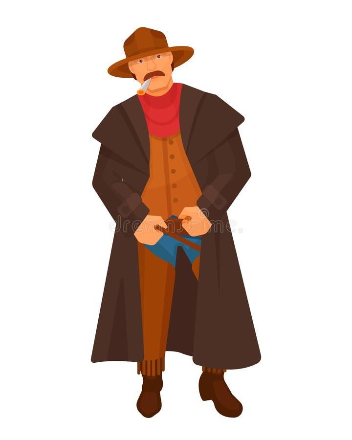 Hommes de shérif de cowboy de caractère d'occidental, avec le cigare dans la bouche illustration libre de droits