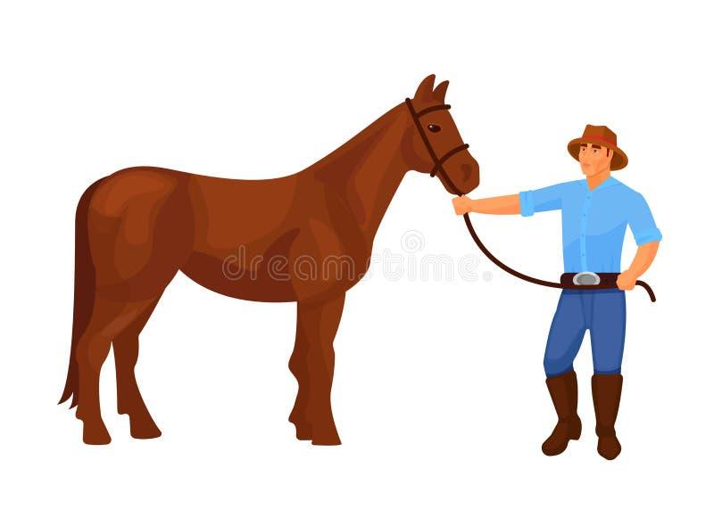 Hommes de shérif de cowboy de caractère de l'occidental, beau cheval de harnais illustration stock