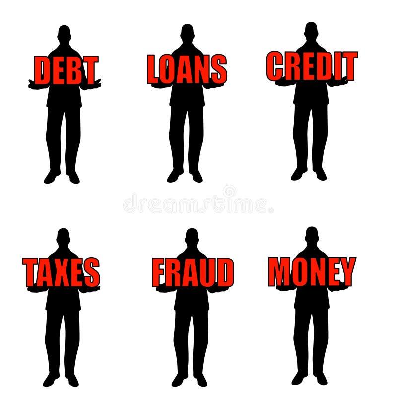Hommes de silhouette retenant des mots illustration stock