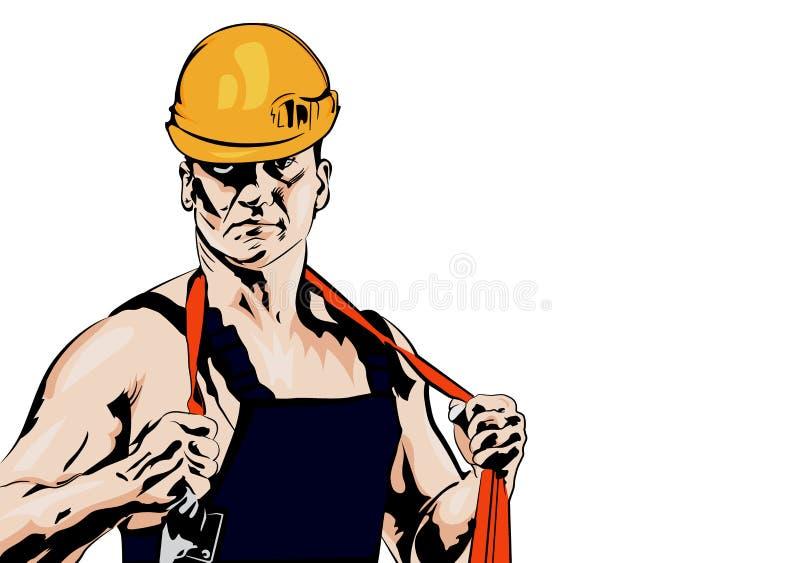 Hommes de travailleur industriel avec la corde illustration stock