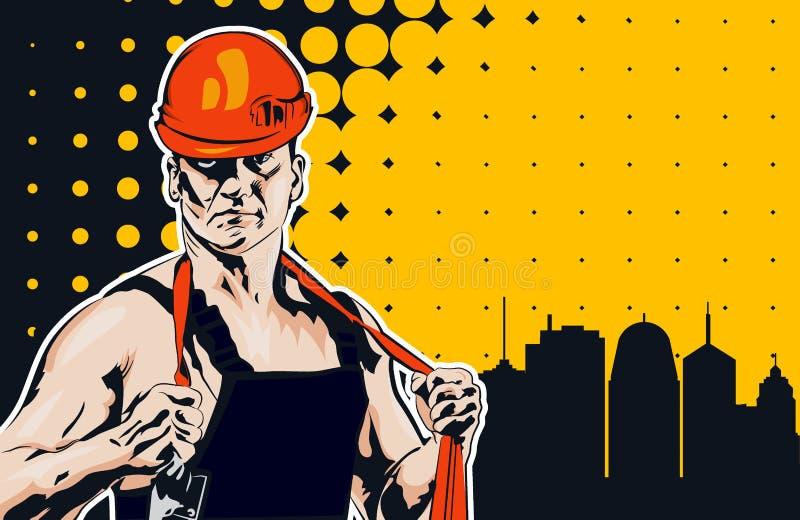 Hommes de travailleur industriel avec la corde L'image tramée pointille le fond Image tirée par la main de vecteur illustration de vecteur