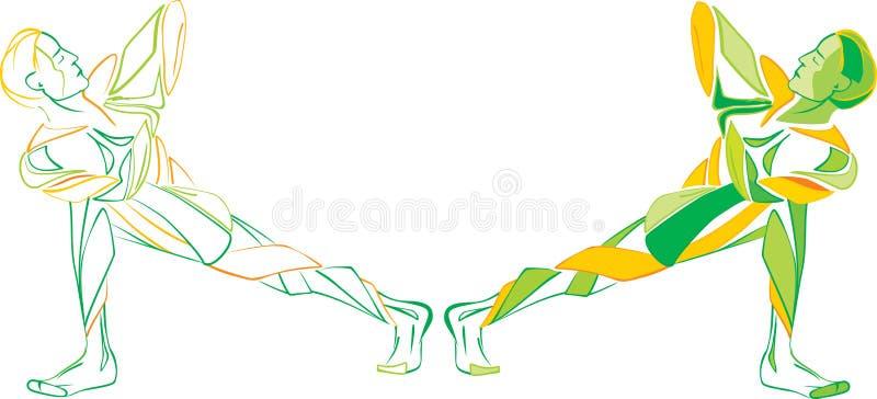 Hommes de yoga de gymnastique illustration libre de droits