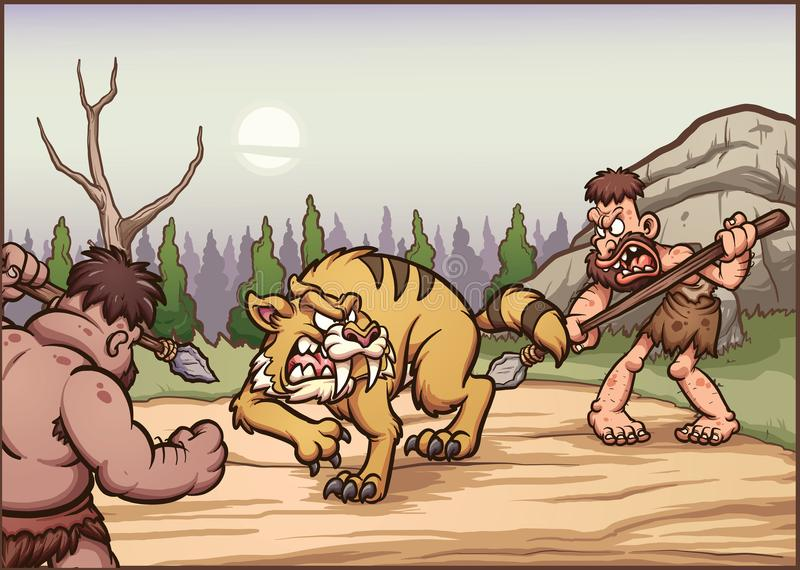 Hommes des cavernes de bande dessinée chassant une dent de sabre illustration de vecteur