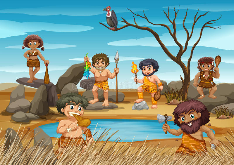 Hommes des cavernes vivant à côté de l'étang illustration stock