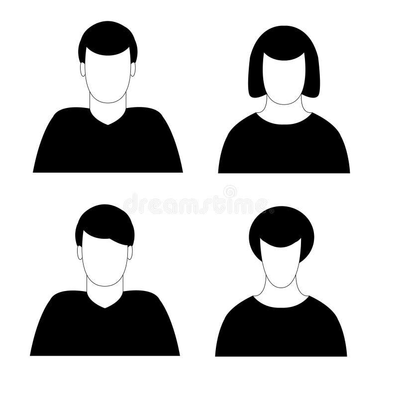 Hommes et avatar de femmes illustration de vecteur