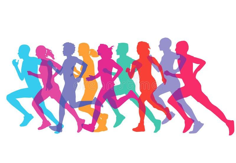 Hommes et coureurs ou trotteurs de femmes illustration de vecteur