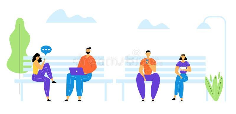 Hommes et femmes communiquant en ligne avec des p?riph?riques mobiles Caract?res des jeunes causant dans les r?seaux sociaux Ordi illustration libre de droits