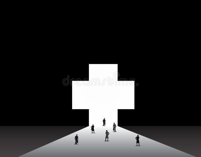 Hommes et femmes d'affaires tenant l'avant de grand médical plus la porte illustration libre de droits