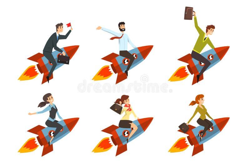 Hommes et femmes d'affaires volant sur des fusées Personnes réussies dans des vêtements formels Avancement de carrière Icônes pla illustration de vecteur