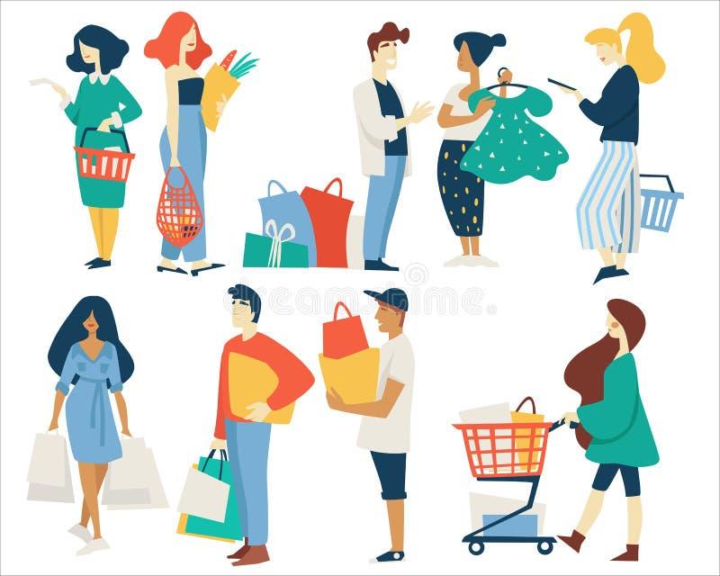Hommes et femmes de achat avec le panier ou le chariot de supermarché de sacs illustration stock