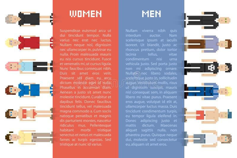Hommes et femmes de pixel illustration stock