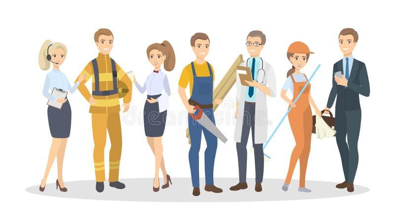 Hommes et femmes de professions illustration libre de droits