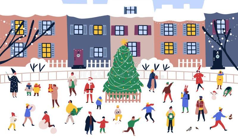 Hommes et femmes marchant autour du grand arbre de Noël sur la rue contre des bâtiments de ville sur le fond Adultes et enfants illustration libre de droits