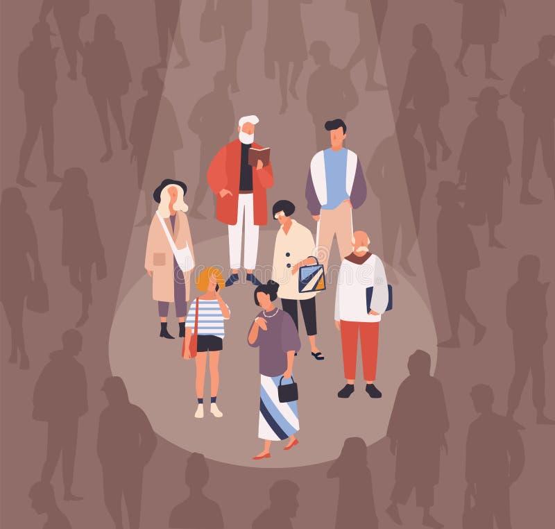 Hommes et femmes mis en lumière ou illuminés par le faisceau de lumière contre la foule des personnes sur le fond Concept de grou illustration de vecteur