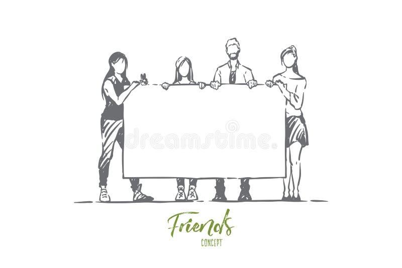 Hommes et femmes tenant la plaquette vide, fête d'anniversaire de surprise, félicitations, jeunes amis, sociologie illustration stock