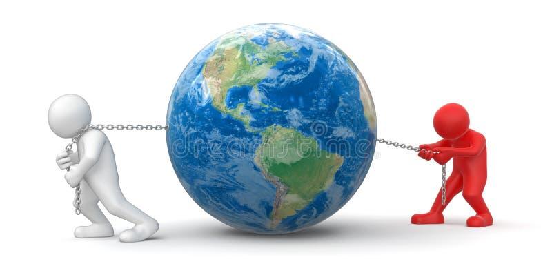 Hommes et globe (chemin de coupure inclus) illustration libre de droits