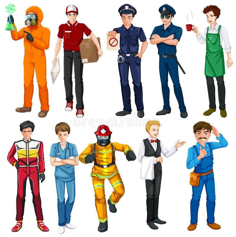 Hommes faisant différents types de travaux illustration de vecteur