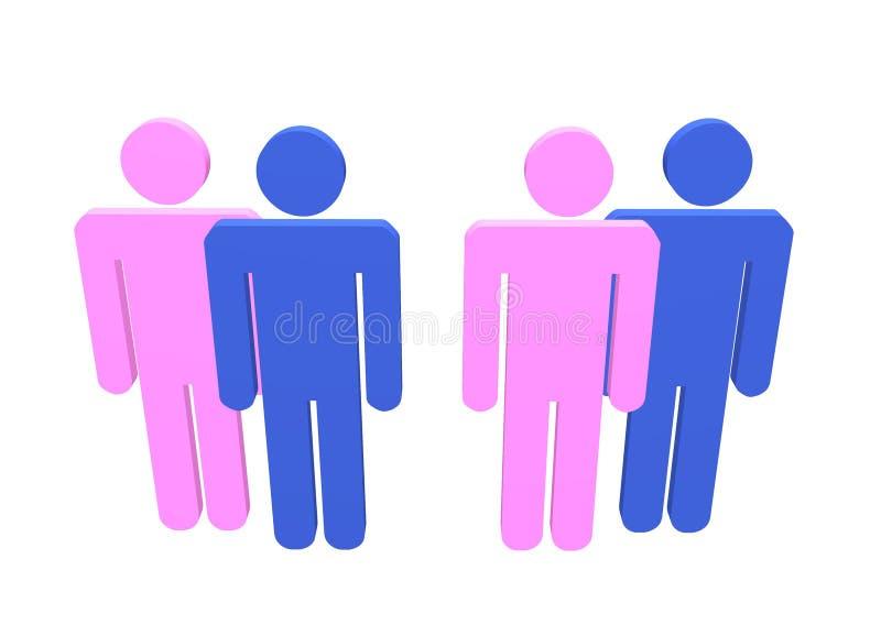 Hommes-femmes dominant illustration de vecteur