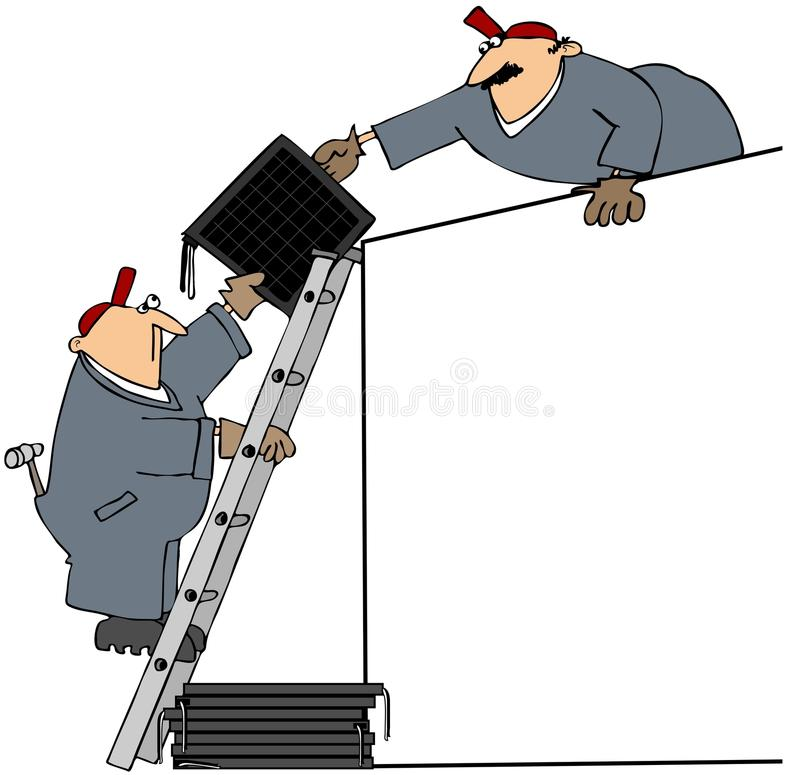 Hommes installant les panneaux solaires illustration libre de droits