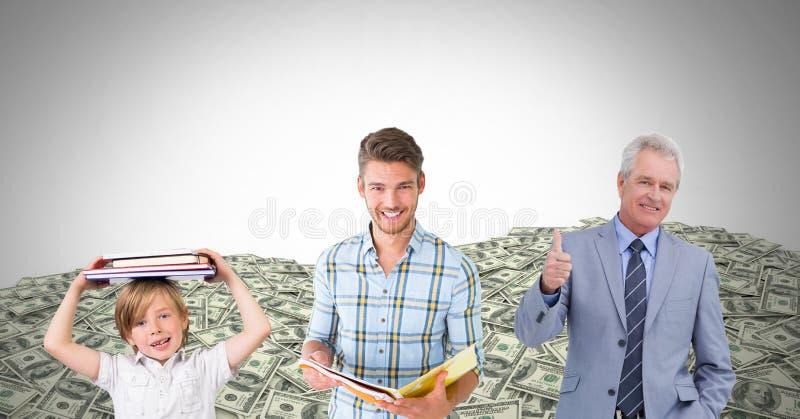 hommes instruits des générations d'âge grandissant avec des dollars d'argent images stock