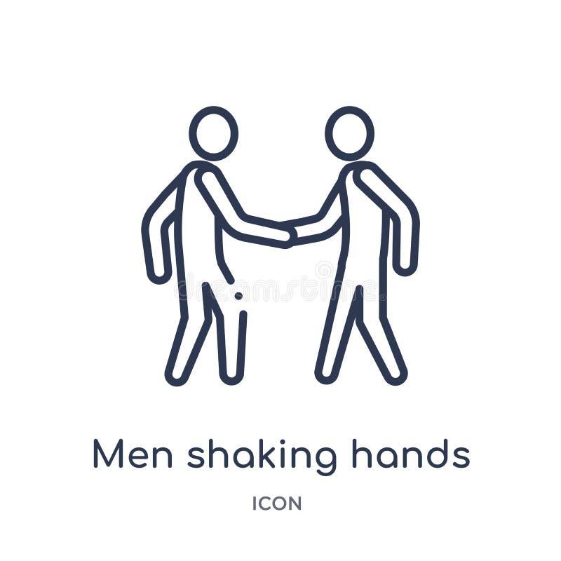 Hommes linéaires se serrant la main l'icône de la collection d'ensemble d'affaires Ligne hommes mince se serrant la main l'icône  illustration libre de droits