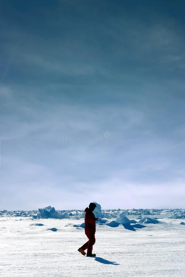 Hommes marchant en Antarctique photos stock