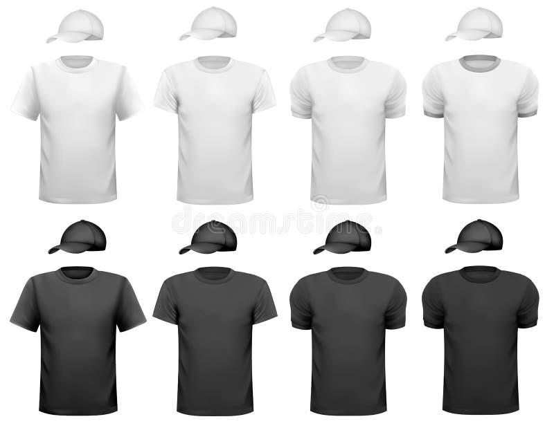 Hommes noirs et blancs T-shirt et tasse. illustration stock