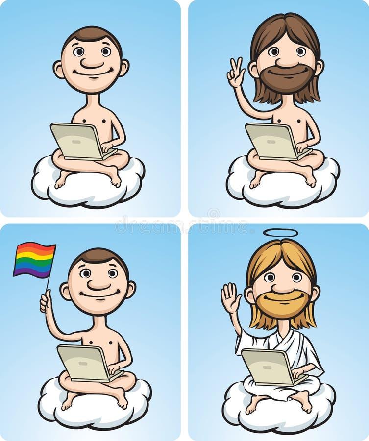 Hommes nus de dessin animé sur un nuage avec l'ordinateur portatif illustration libre de droits
