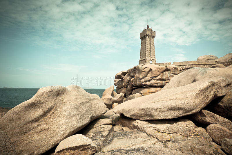 Hommes Ruz de phare chez Brittany, France photos stock