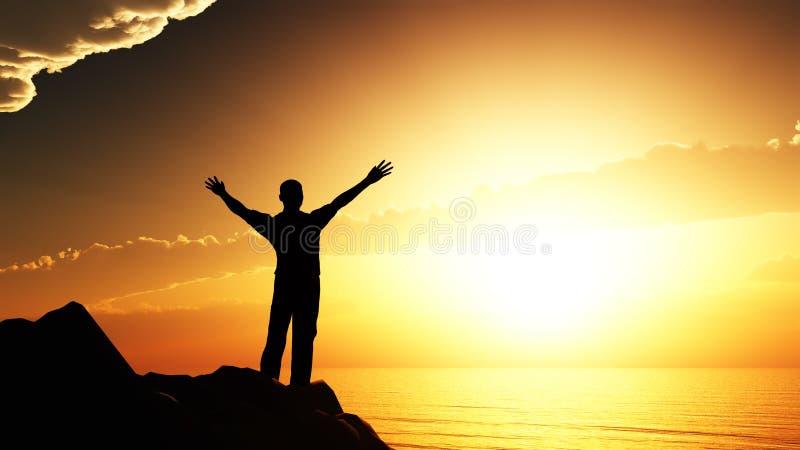 Hommes saluant le soleil illustration stock