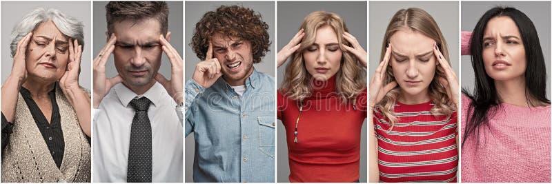 Hommes soumis à une contrainte et femmes ayant le mal de tête image stock