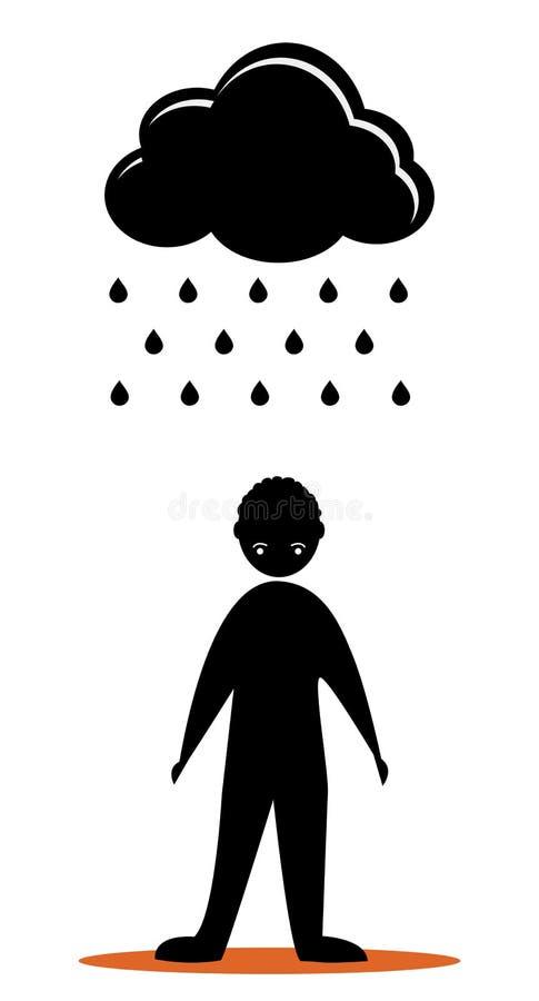 Hommes tristes de nuage noir illustration de vecteur