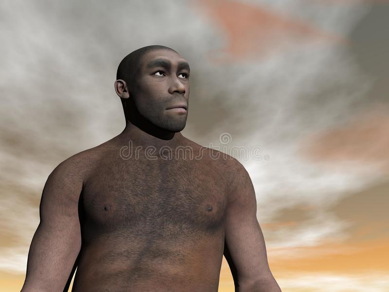 Homo erectus masculin - 3D rendent illustration libre de droits